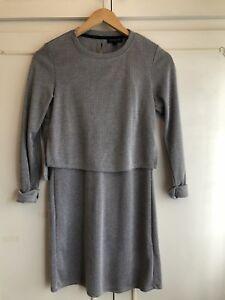 TOPSHOP-Navy-Grey-Linear-Stripe-Overlay-Layered-Mini-Tunic-Dress-size-6-euro-34
