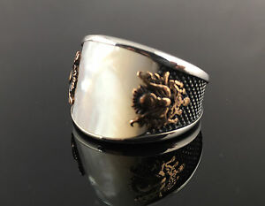 925-Sterling-Silver-Pearl-Coat-of-Arms-Ottoman-Men-039-s-Ring-US-Seller-1K6E