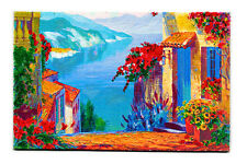 """MAGNIFICENT ORIGINAL ART PICTURE OIL HAND PAINTING on CANVAS """"ITALIAN RIVIERA"""""""