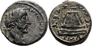 *AET* ZEUGMA (Commagene) AE20. Antoninus Pius. EF-/EF. Tetrastyle temple.