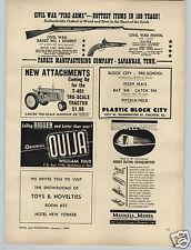 1963 PAPER AD Parris Toy Gun Rifle Civil War Kadet Musket Ouija Board Game