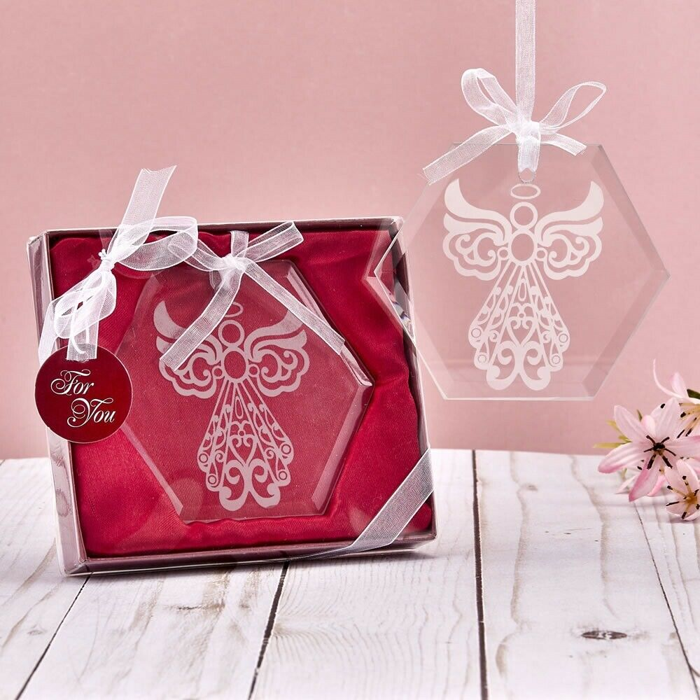 75 Etched Angel Octagon Glass Ornament Wedding Religious Baptism Party Favors