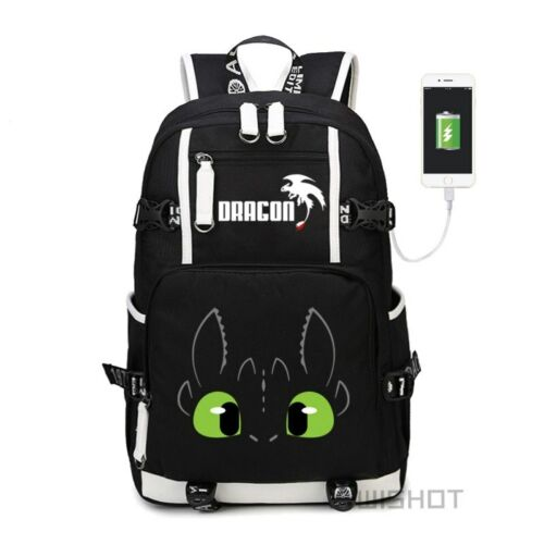 How To Train Your Dragon USB Backpack Travel Bag Teenagers Boys Girls School Bag