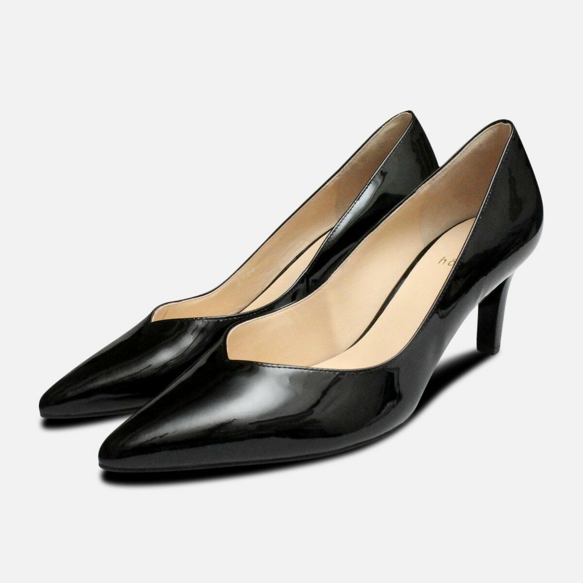 Hogl Black Patent Pointed Pointed Pointed Toe Medium Heel shoes 06047d