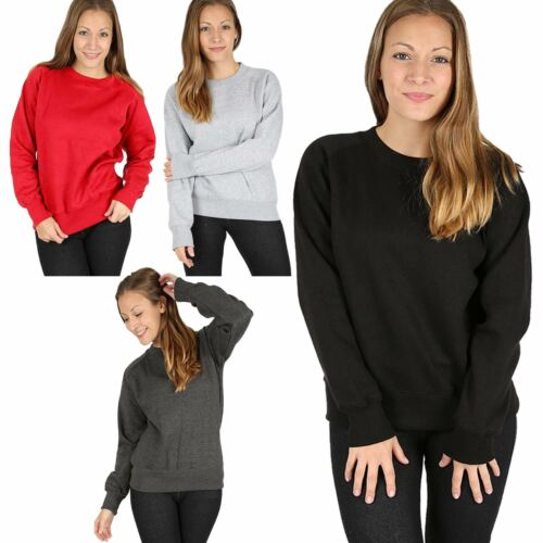 Womens Ladies Crew Neck Raglan Long Sleeve Fleece Sweatshirt Pullover Jumper Top