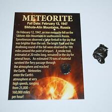 Sikhote Alin Russian Genuine Meteorite 4 to 5 gram size w/ Color Label #2919
