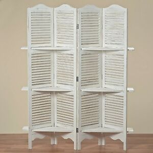 paravento con scaffale jive 180x140x30 cm shabby bianco 4. Black Bedroom Furniture Sets. Home Design Ideas