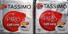 Edición limitada de 2 PAQUETES TASSIMO PARIS café vainas de 32 discos de larga T Bebidas Cafe Largo