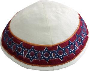 Yair-Emanuel-White-Kippah-Embroidered-Blue-amp-Maroon-Star-of-David-Yarmulke
