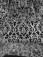 "BLACK STRETCH MESH W/SILVER SEQUIN EMBROIDERY LACE FABRIC 52"" WIDE 1 YARD"