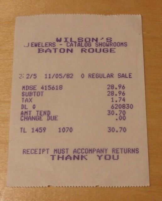 Vintage Receipt From H.J. Wilson Co. (Wilson's Jewelers