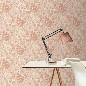Portefeuille-Tropical-Feuille-Papier-Peint-Rose-Dore-Rose-Rasch-215519-Neuf