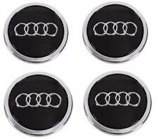 4 X BLACK AUDI ALLOY WHEEL CENTRE CAPS 69MM   A3 A4 A5 A6 S LINE  TT RS Q3 Q7