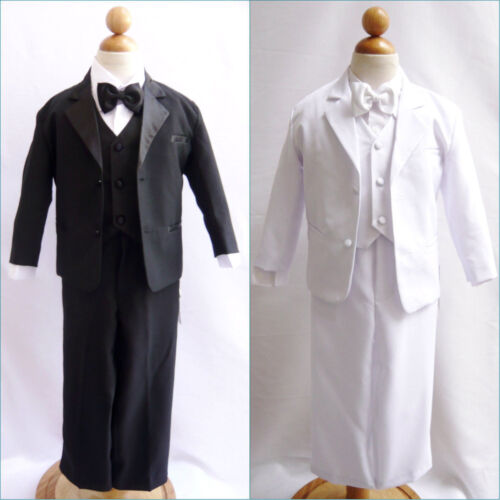 IVORY cream Boys Tuxedo Satin trim Fancy wedding  Holiday Bow tie vest pants