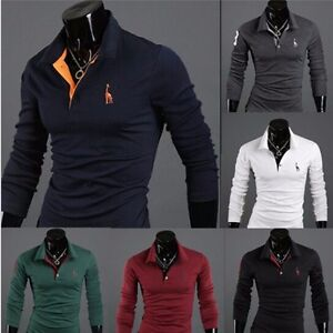 Details about Mens Slim Fit Stylish POLO Shirt long Sleeve Casual T-shirt Tee Tops M/L/XL/XXL