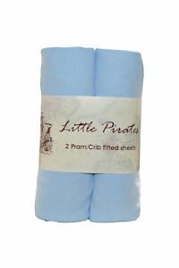 2-x-Baby-Crib-Moses-Basket-Jersey-Fitted-Sheet-100-Cotton-Blue-40x90cm
