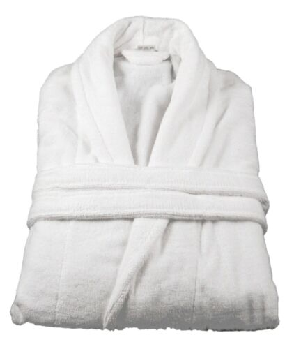Luxury White Bath robe Velour Outer Terry Towelling Inner 100/% Cotton Size Large