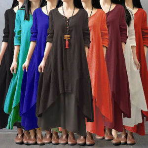 Vintage-Women-Boho-Long-Sleeve-Cotton-Linen-Kaftan-Maxi-Irregular-Dress-Plus