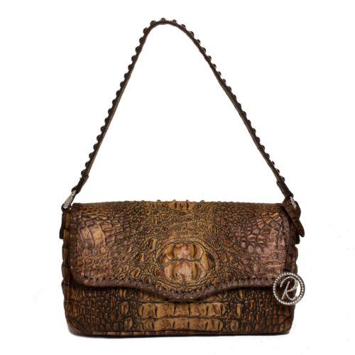 Raviani Satchel Bag Top Grain Solid Brown Crocodile Cowhide Leather