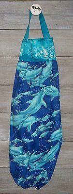 Dolphins Pod Breaking Ocean Surface Waves Plastic Grocery Bag Rag Sock Holder