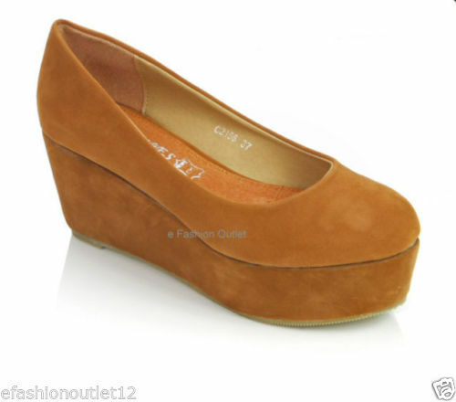 WOMEN LADIES MID HEEL PLATFORM FLATFORM FULL SIZE TOE WEDGES COURT SHOES SIZE FULL 5 38 41 ffab1c