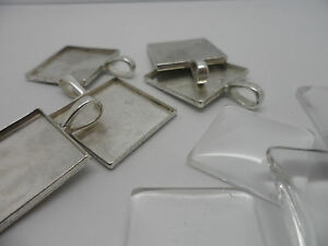 5-Silver-Square-Pendant-Making-Set-25mm-inner-Tray-5-Settings-5-Cabochons