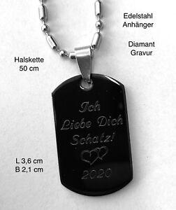 Edelstahl ID Anhänger Dogtag mit Panzerkette  Liebe Freundschaft  Wunschgravur
