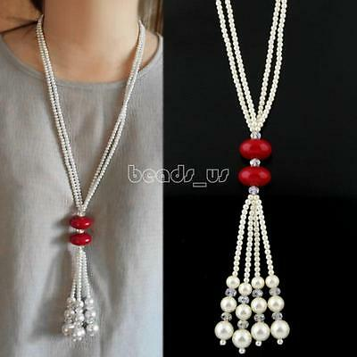 Fashion Women Pearl Beads Sweater Chain Long Pendant Necklace Jewelry 25.59 inch