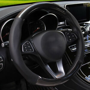 15-039-039-Black-Carbon-Fiber-Stitching-Steering-Wheel-Cover-Non-slip-38cm-for-Holden