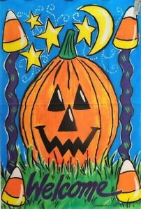 """Big Jack Halloween Standard House Flag by Toland 24"""" x 36"""", #0139, Welcome"""