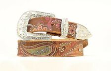 Nocona Women's Floral Paisley Print Leather Belt Brown NWT - Large