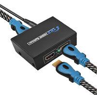 Full HD HDMI Splitter 1X2 2 Port Hub Repeater Amplifier v1.4 3D 1080p 1 In 2 Out