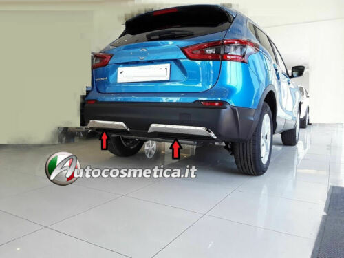 Spoiler sotto paraurti Nissan Qashqai 17-19 posteriore acciaio satinato 2 pezzi*