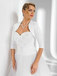 New-Womens-Bridal-Wedding-Satin-Bolero-Shrug-Jacket-3-4-Sleeve-Sizes-XS-XXL