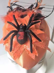 Halloween-Party-Spider-Tarantula-Hat-Fascinator-Costume-Orange-Black-Glitter