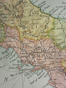 1919 LARGE MAP ITALY SARDINIA TUSCANY SICILY PIEDMONT POPULATION