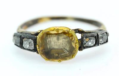 A Magnificent Georgian 2ct Topaz & Old Cut Diamond Ring Circa 1800's