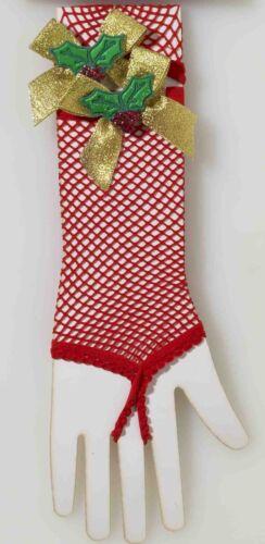Red Fishnet Gloves Mistletoe Women/'s Mrs Claus Christmas Costume Accessory Elf
