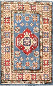 Geometric-Blue-Super-Kazak-Oriental-Area-Rug-Wool-Hand-Knotted-Foyer-Carpet-2x3