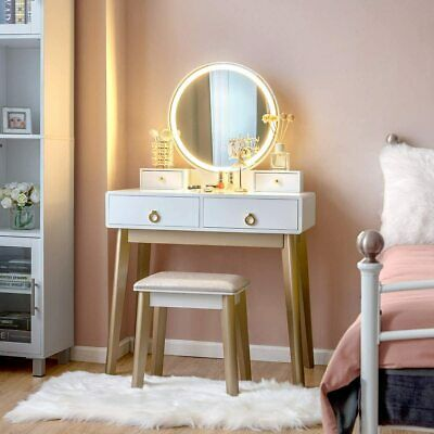 makeup dressing table vanity set w/ dimming mirror led