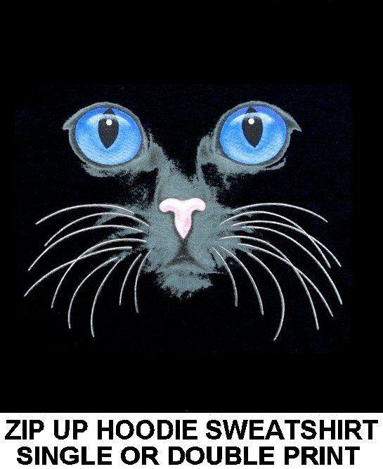GORGEOUS CATS EYES CAT FACE ART ON A ZIP HOODIE SWEATSHIRT 760
