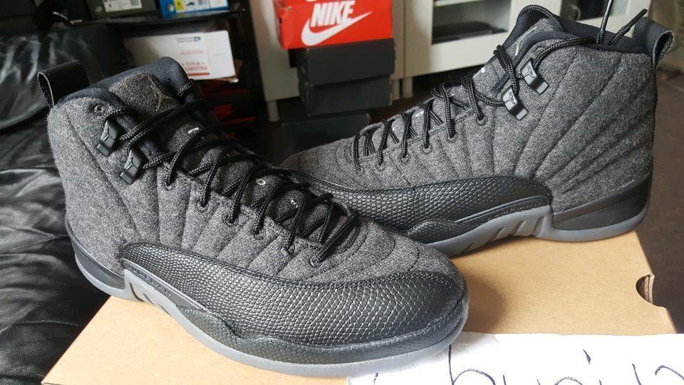 Nike Air Jordan Retro XII 12 Wool Dark Grey Metallic Silver 852627-003 Black Red Cheap women's shoes women's shoes