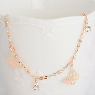 LADIES GIRLS DOUBLE LAYER BEADED  BELL ANKLET ANKLE BRACELET CHAIN ROSE GOLD UK