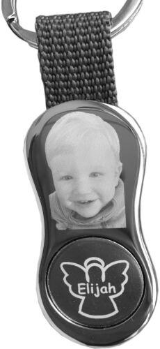 Wunsch Fotogravur Schlüsselanhänger mit Schutzengel und EKW Clip Name