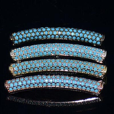 Black Zircon Gemstone Pave Twill Curved Tube Bracelet Connector Charm Beads