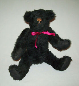 Nice-Old-vtg-1980s-Black-Teddy-Bear-13-034-Tall-Fully-Jointed-Probably-Artist-Made