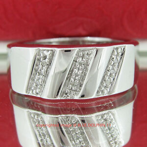Genuine-Diamond-Solid-Silver-Engagement-Wedding-Mens-Ring-Band-White-Gold-Finish