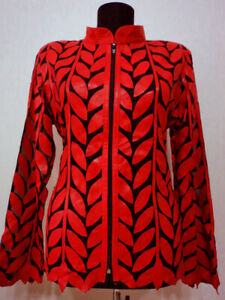 Red-Leather-Jacket-Woman-Coat-All-Size-Zipper-Short-Light-Collar-Soft-Meshed-D4