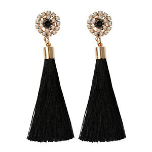 Fashion-Bohemian-Women-Long-Tassel-Fringe-Earrings-Dangle-Drop-Ear-Stud-Jewelry