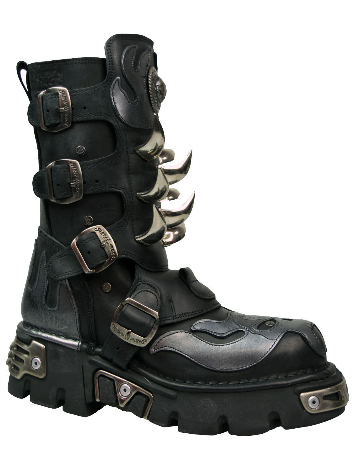 New Rock Stiefel Boot 108 Dämon Nieten Gothic silver Flamme Spikes Reactor  5066